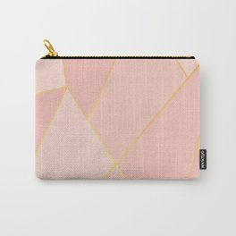 Elegant Pink Rose Gold Geometric Abstract Carry-All Pouch