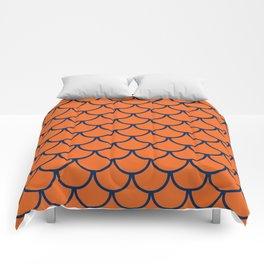Orange & Blue Fish Scales Pattern Comforters