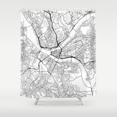 Abstract And Blackwhite Shower Curtains Society - Hand lettered us map black and white shower curtain