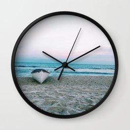 boat on beach Wall Clock