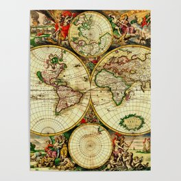 Ancient World Map 1689 Poster