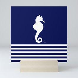 AFE Navy & White Seahorse Mini Art Print