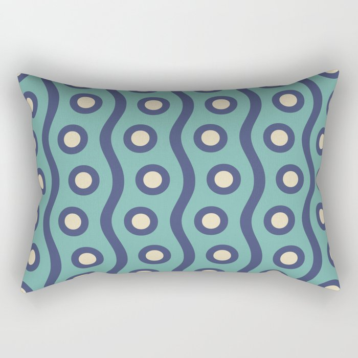Mid Century Modern Rising Bubbles Pattern Turquoise and Blue Rectangular Pillow