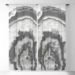 Gray Black White Agate #1 #gem #decor #art #society6 Sheer Curtain