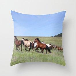 Running Horses Photography Print Throw Pillow