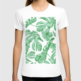 Tropical Island Leaves Green on White T-shirt