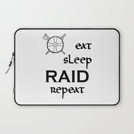 eat-sleep-RAID-repeat black, Vikings Laptop Sleeve