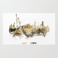 new york skyline Area & Throw Rugs featuring New York City Skyline  by jbjart