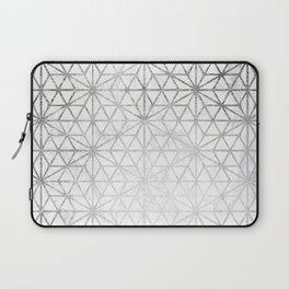 Modern silver stars geometric pattern Christmas white marble Laptop Sleeve