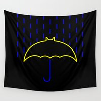 gotham Wall Tapestries featuring Rainy Gotham by luis pippi