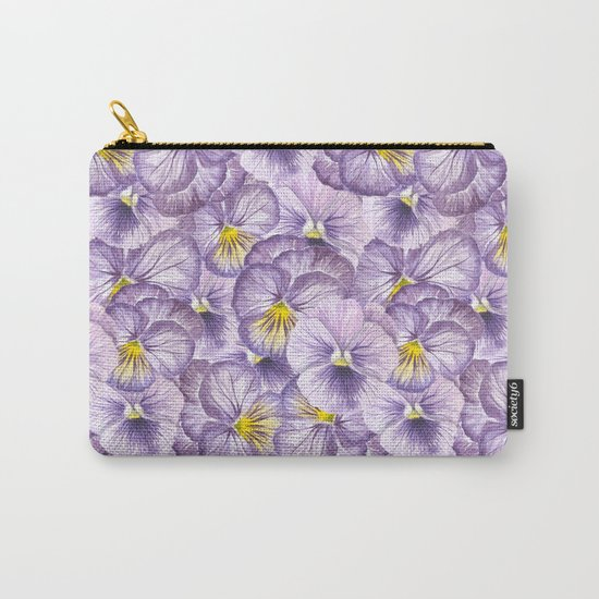 Watercolor floral pattern with violet pansies Carry-All Pouch