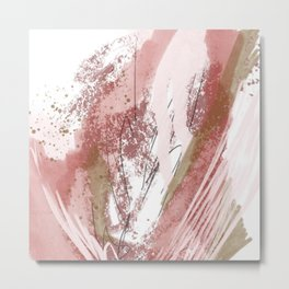 Sugar and Spice: a minimal, abstract mixed-media piece in pink and brown by Alyssa Hamilton Art Metal Print