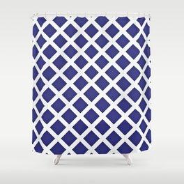 White Diagonal Check Shower Curtain