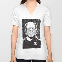 frankenstein V-neck T-shirts featuring Frankenstein by Matt Fontaine Creative