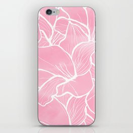 Modern white hand drawn abstrat floral pastel pink watercolor iPhone Skin
