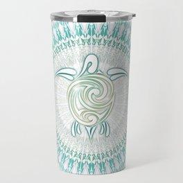 Turquoise Green Turtle And Mandala Travel Mug