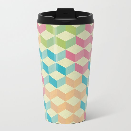 Sugar Cubes Geometric Pattern Metal Travel Mug