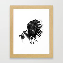 Indian with Headdress Black and White Silhouette Framed Art Print
