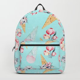 Pink & Teal Summer Fun Flower Ice Cream Cone - Pattern Backpack
