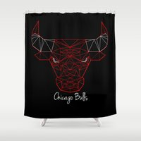 chicago bulls Shower Curtains featuring Chicago Bulls by latiife