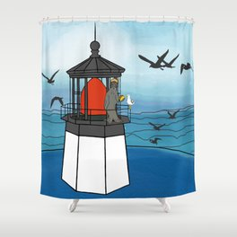 Tuskadero Slim at his home in the Cape Meares Lighthouse from Flock of Gerrys Gerry Loves Tacos Shower Curtain