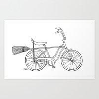 vintage witch bike Art Print