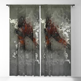 On Ice - Ice Hockey Player Modern Art Blackout Curtain