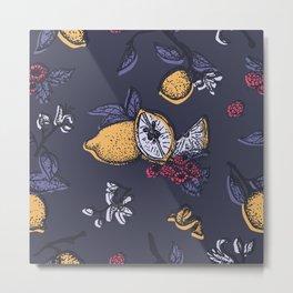 Lemon&raspberry in trendy ultraviolet color Metal Print