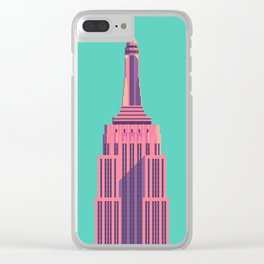 Empire State Building New York Art Deco - Green Clear iPhone Case