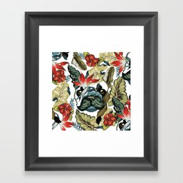 Tropical Frenchie Framed Art Print