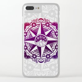 Journey to Moon Mountain | Purple & Magenta Ombré Clear iPhone Case