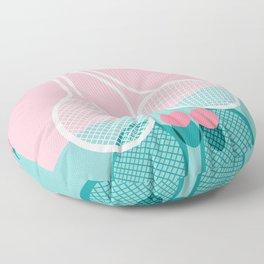 Sportin' - retro minimal pastel neon throwback memphis style pop art tennis sport court player Floor Pillow