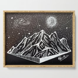 """""""Mt. Goodnight"""" Hand-Drawn by Dark Mountain Arts Serving Tray"""