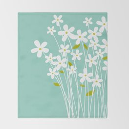 Flowers on Blue by Friztin Throw Blanket