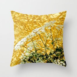 GOLDEN LACE FLOWERS FROM SOCIETY6 BY SHARLESART. Throw Pillow