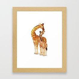 Mother and child giraffes Framed Art Print