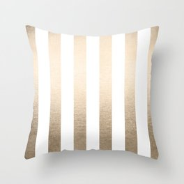 Simply Vertical Stripes in White Gold Sands Throw Pillow