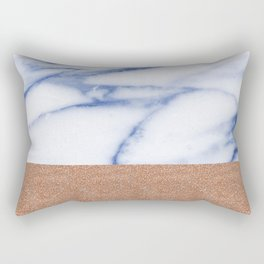 Porcelain blue marble with rose gold Rectangular Pillow
