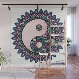 Floral Ying Yang Mandala Wall Mural