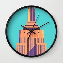 Empire State Building New York Art Deco - Cyan Wall Clock
