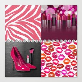 Pink & Purple Fashion Collage Canvas Print
