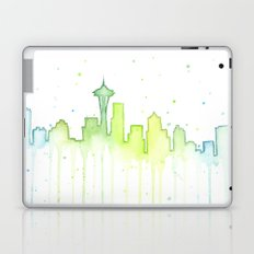 Seattle Skyline Watercolor Space Needle Painting Laptop & iPad Skin