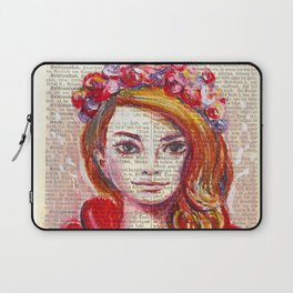Floral Girl on dictionary page Laptop Sleeve