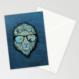 Stylish Lion Design with Moroccan Leather background Stationery Cards
