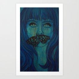 Blue Woodengirl  Art Print