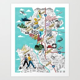 Illustrated Seattle City Map Art Print