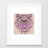 kenzo Framed Art Prints featuring KENZO Tiger, pink  by cvrcak