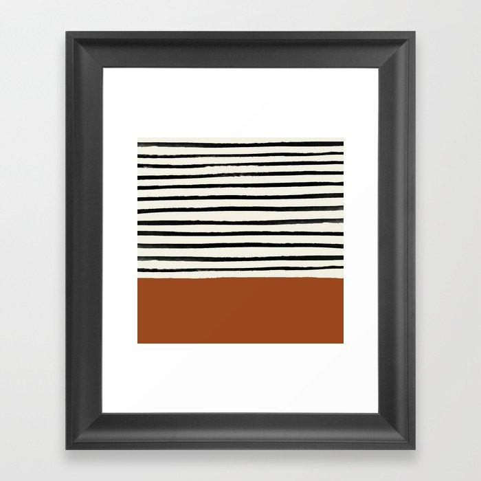 Burnt Orange x Stripes Gerahmter Kunstdruck
