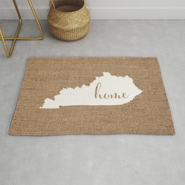 Kentucky is Home - White on Burlap Rug