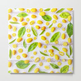 Fruits and leaves pattern (22) Metal Print